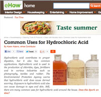 common uses for Hydrochloric Acid