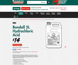5L Hydrochloric Acid at Bunnings